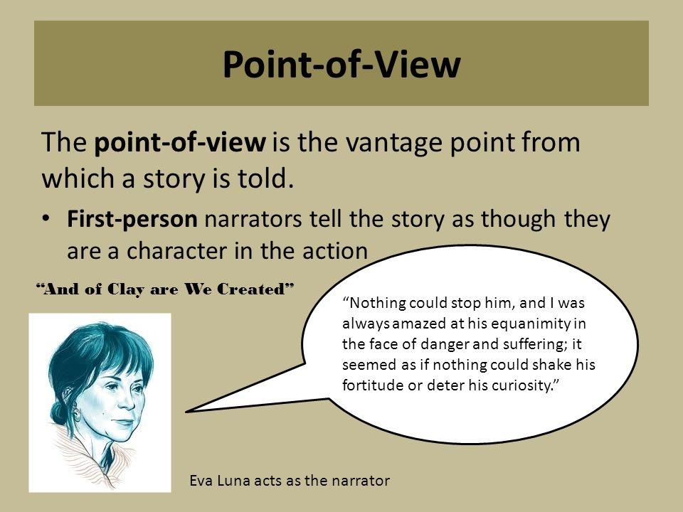 Point-of-View The point-of-view is the vantage point from which a story is told.