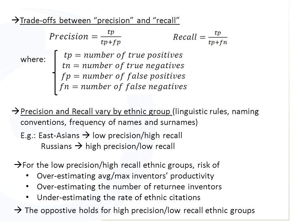 " Trade-offs between ""precision"" and ""recall"" where:  Precision and Recall vary by ethnic group (linguistic rules, naming conventions, frequency of n"