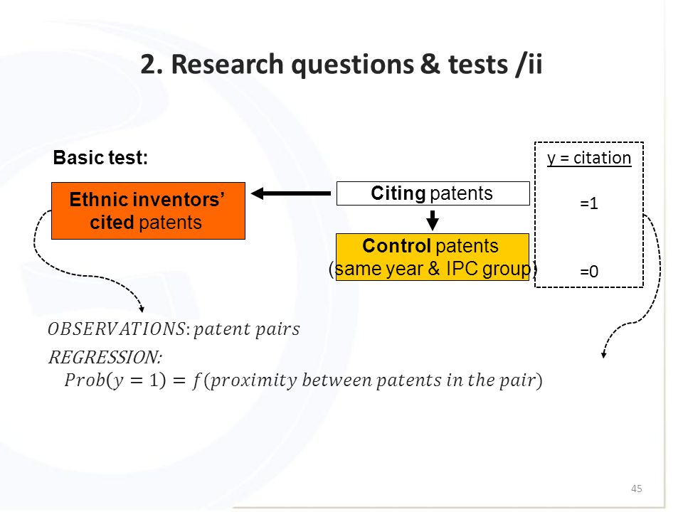2. Research questions & tests /ii 45 Basic test: Ethnic inventors' cited patents Citing patents Control patents (same year & IPC group) y = citation =