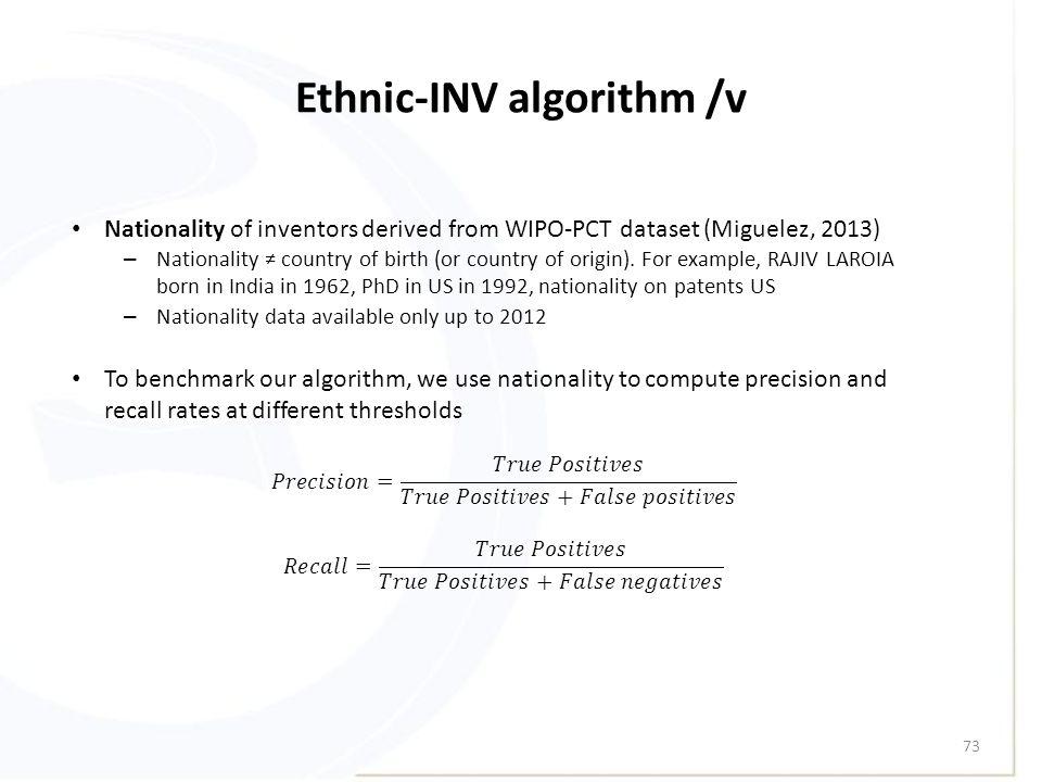 Ethnic-INV algorithm /v 73