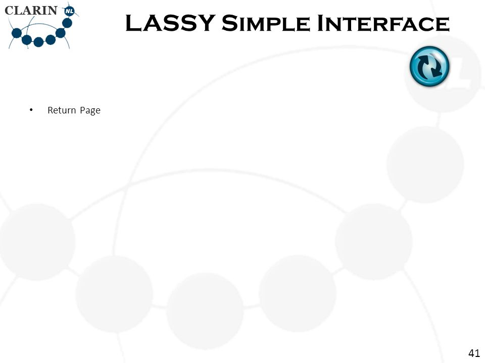 Return Page LASSY Simple Interface 41