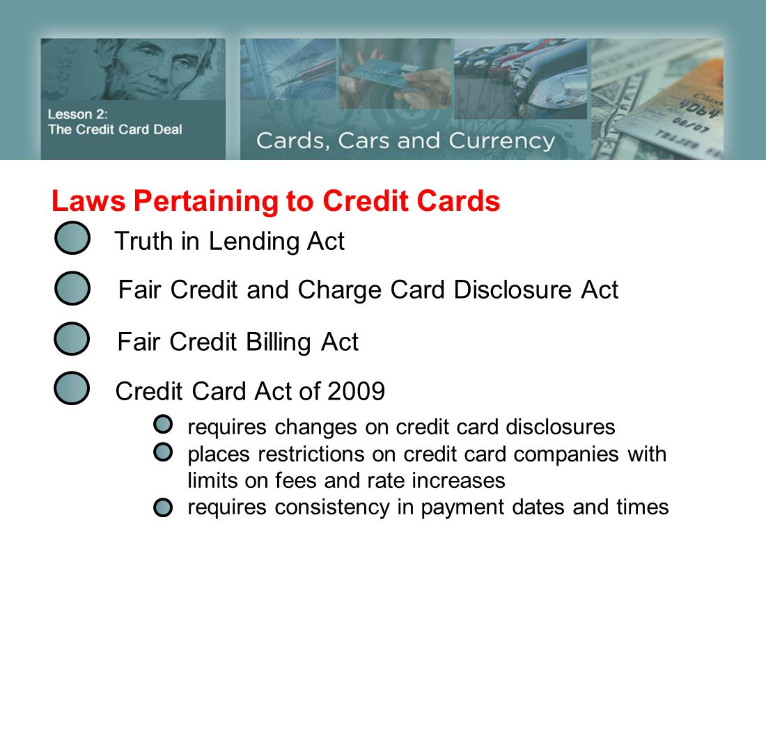 Laws Pertaining to Credit Cards Truth in Lending Act Fair Credit and Charge Card Disclosure Act Fair Credit Billing Act Credit Card Act of 2009 requir