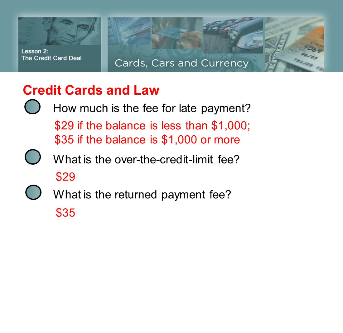 Credit Cards and Law How much is the fee for late payment? $29 if the balance is less than $1,000; $35 if the balance is $1,000 or more What is the ov