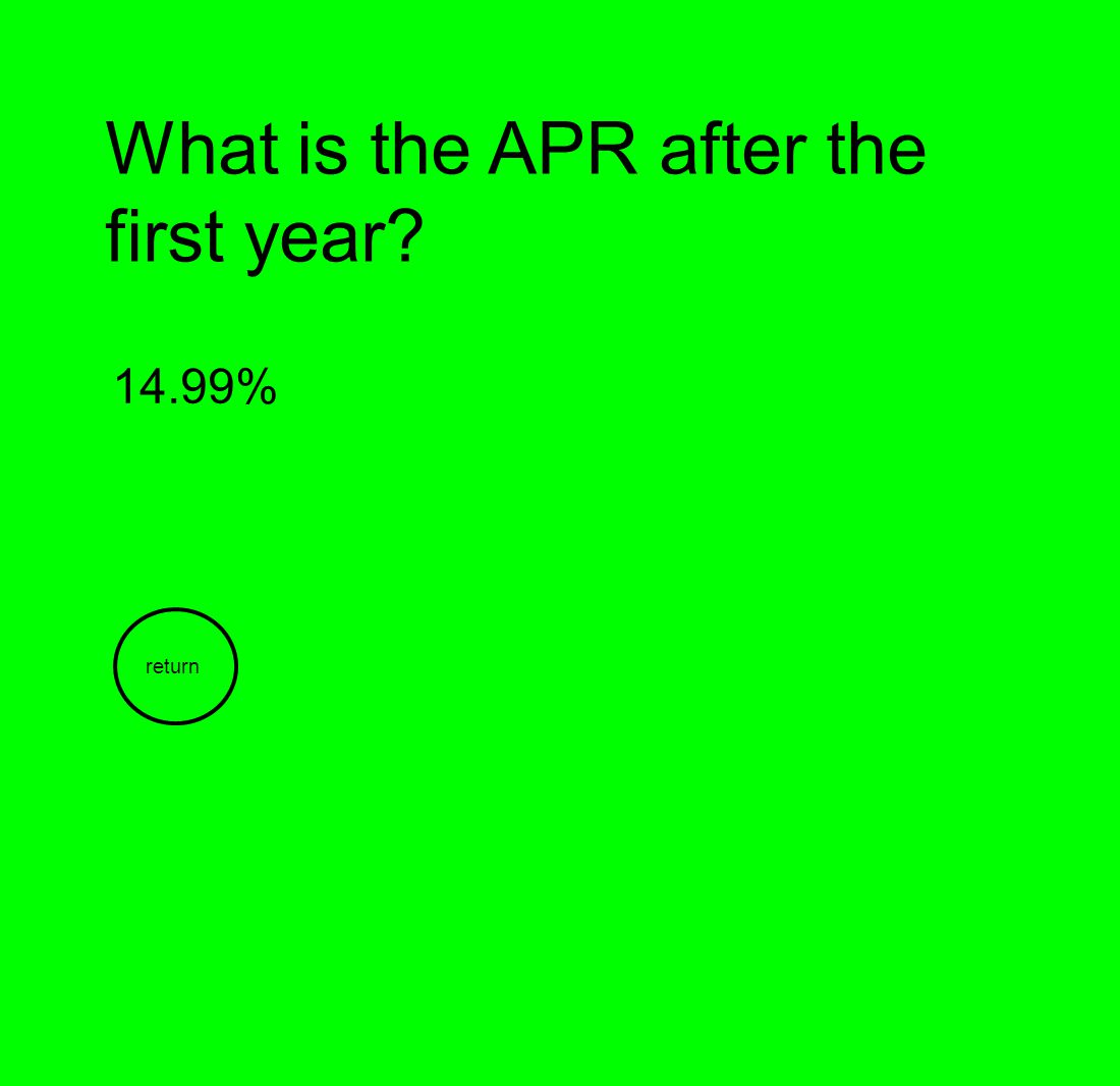 What is the APR after the first year? 14.99% return
