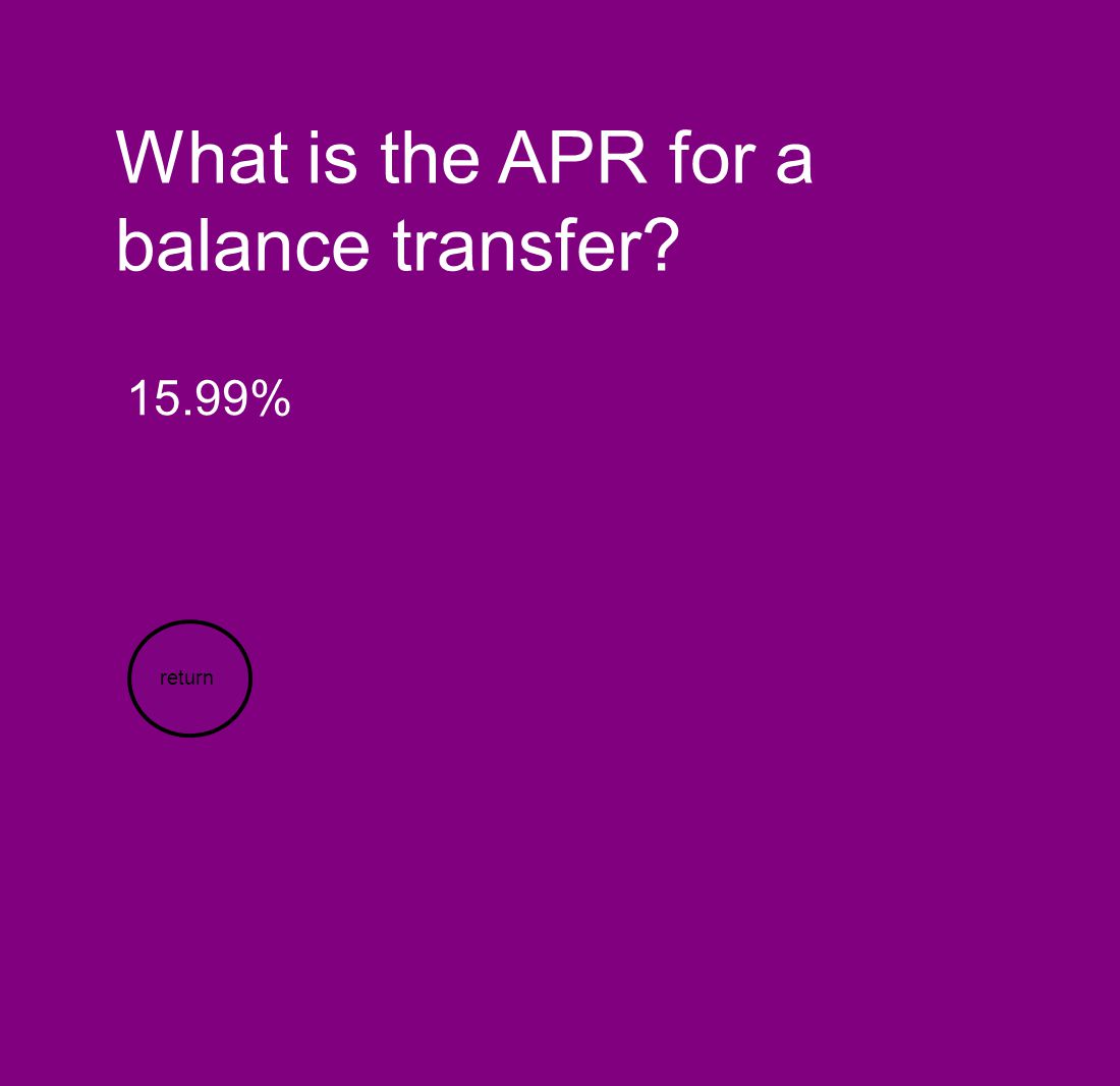 What is the APR for a balance transfer? 15.99% return