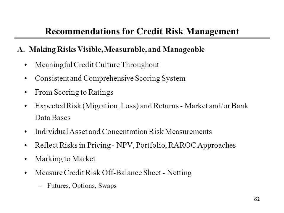 62 Recommendations for Credit Risk Management Meaningful Credit Culture Throughout Consistent and Comprehensive Scoring System From Scoring to Ratings
