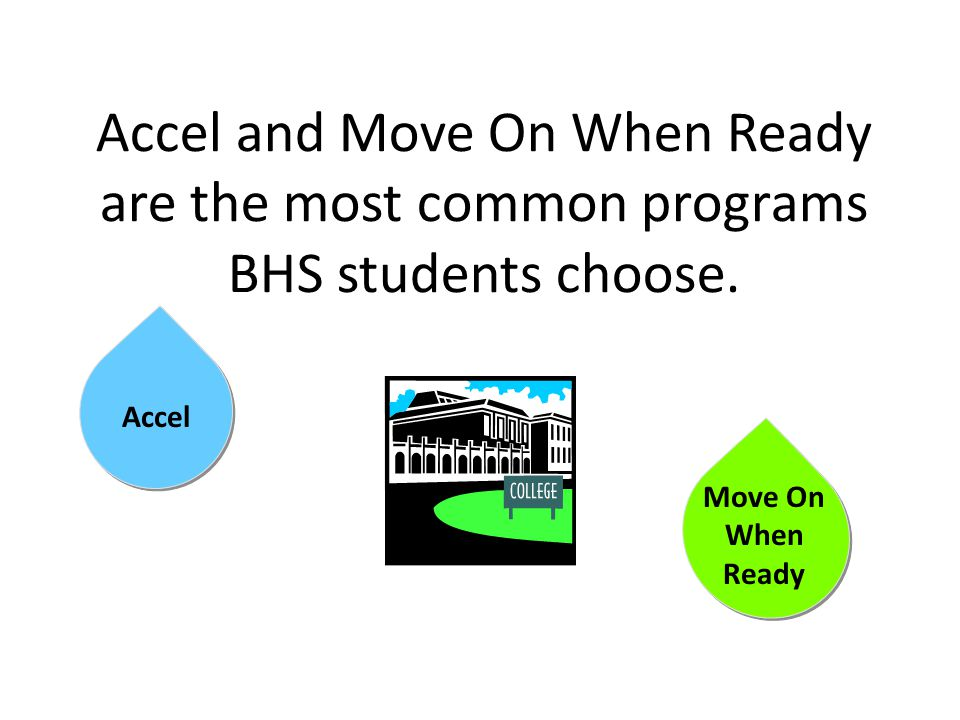 Accel and Move On When Ready are the most common programs BHS students choose.