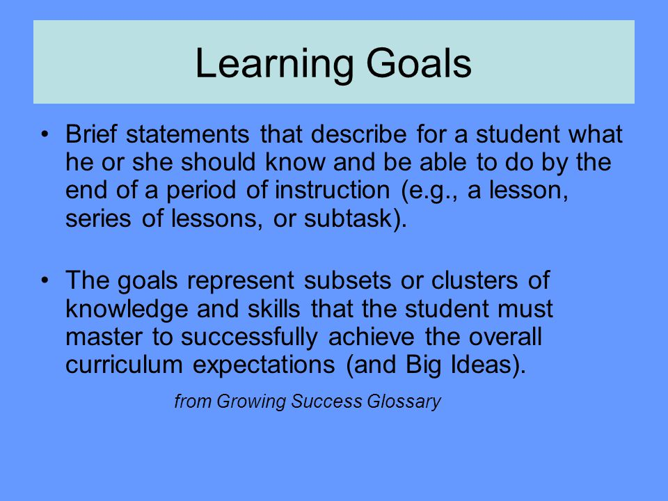 Why Are Learning Intentions and Success Criteria Important.