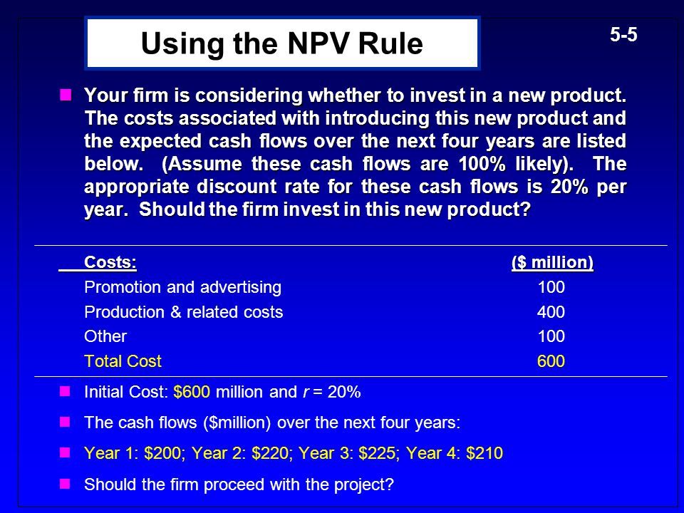 5-45 Recovering NWC at the end of the project -$500,000 -$100,000 -$200,000 +$800,000=$600,000 -$500,000 -$200,000 $100,000 $600,000