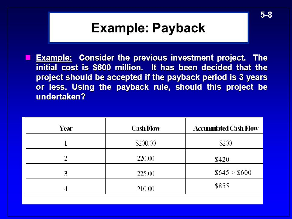 5-8 Example: Payback Example:Consider the previous investment project.