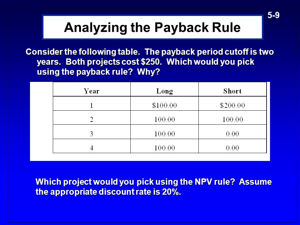 5-19 Comparison of IRR and NPV IRR and NPV rules lead to identical decisions IF the following conditions are satisfied: IRR and NPV rules lead to identical decisions IF the following conditions are satisfied: Conventional Cash Flows: The first cash flow (the initial investment) is negative and all the remaining cash flows are positive Conventional Cash Flows: The first cash flow (the initial investment) is negative and all the remaining cash flows are positive Project is independent: A project is independent if the decision to accept or reject the project does not affect the decision to accept or reject any other project.