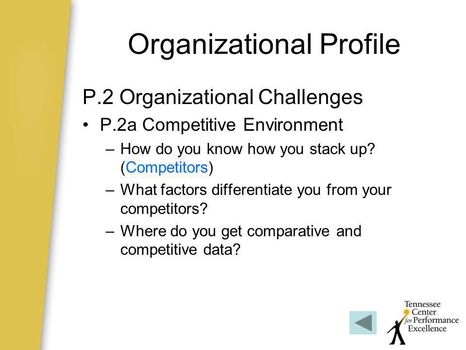Organizational Profile P.2 Organizational Challenges P.2b Strategic Context –Strategic challengesStrategic challenges –Strategic advantagesStrategic advantages P.2c Performance Improvement System –Linked to Organizational Learning –How do you systematically improve.