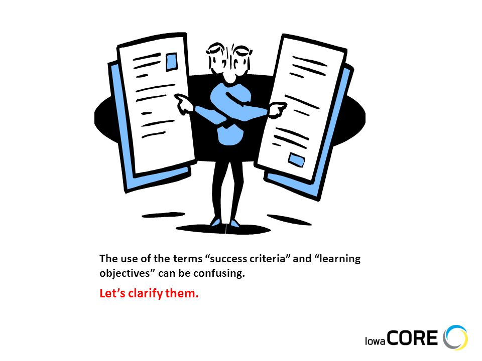 """The use of the terms """"success criteria"""" and """"learning objectives"""" can be confusing. Let's clarify them."""