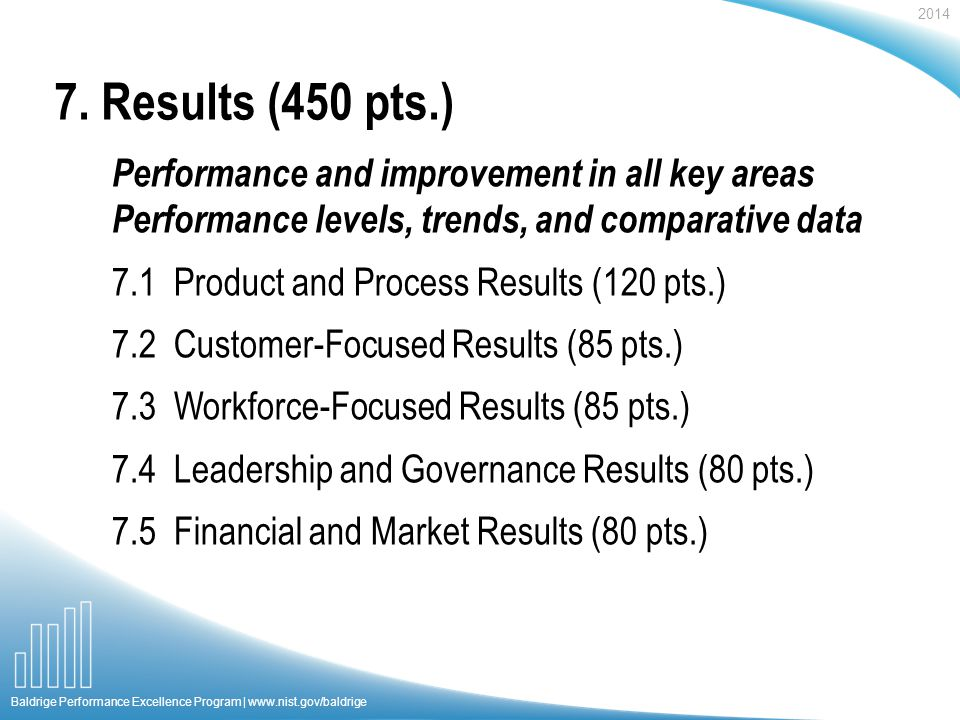 2014 Baldrige Performance Excellence Program | www.nist.gov/baldrige Performance and improvement in all key areas Performance levels, trends, and comp