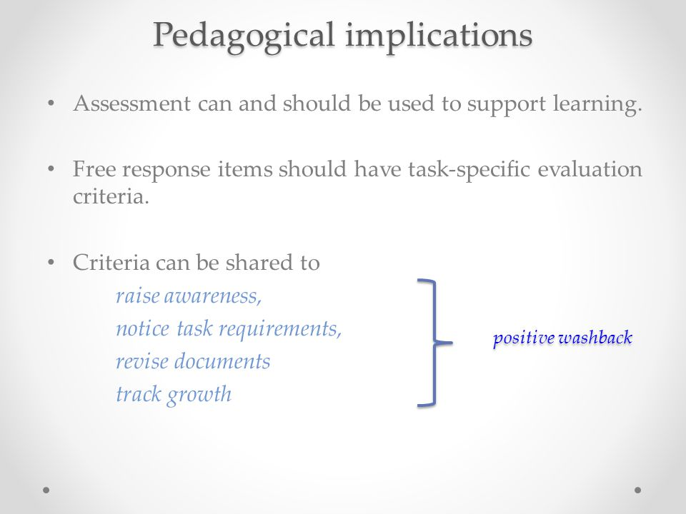 Pedagogical implications Assessment can and should be used to support learning.