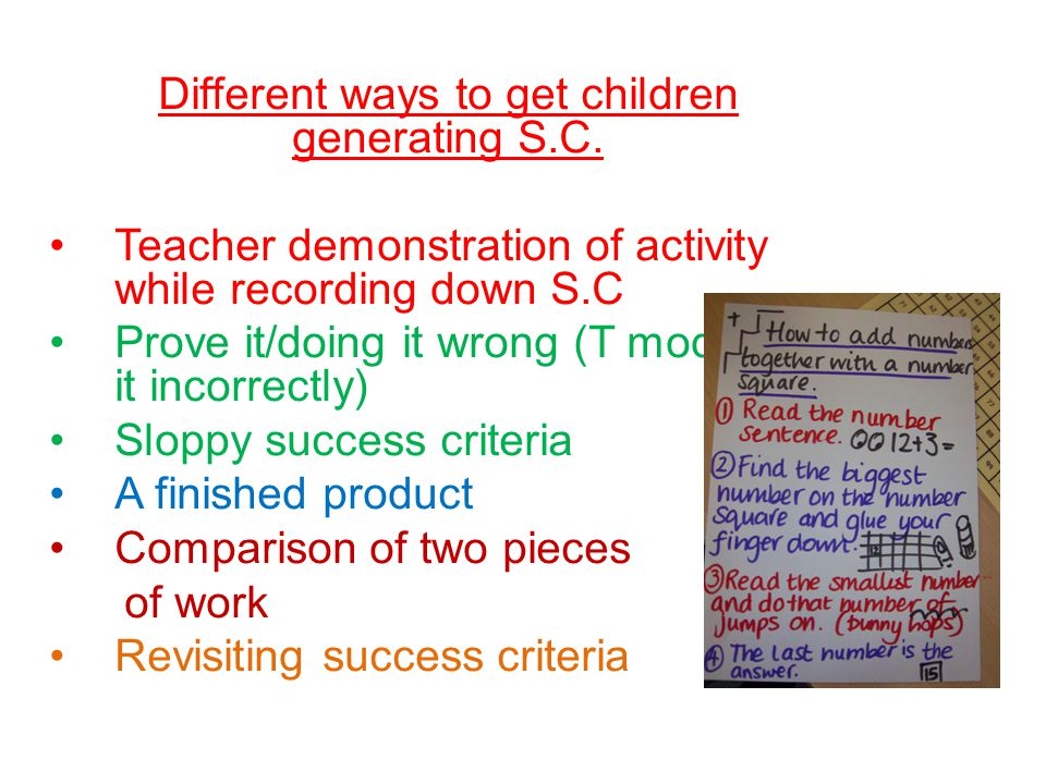 Different ways to get children generating S.C. Teacher demonstration of activity while recording down S.C Prove it/doing it wrong (T modelling it inco