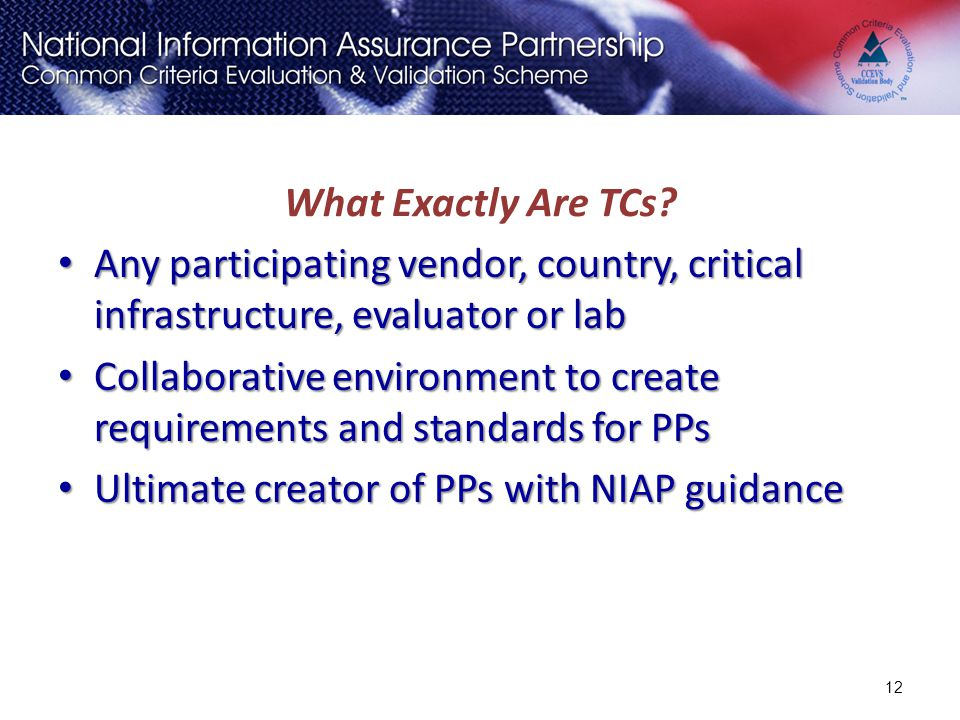 What Exactly Are TCs? Any participating vendor, country, critical infrastructure, evaluator or lab Any participating vendor, country, critical infrast