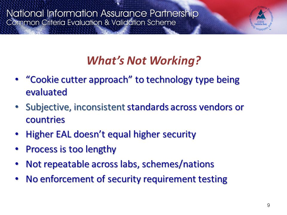 """What's Not Working? """"Cookie cutter approach"""" to technology type being evaluated """"Cookie cutter approach"""" to technology type being evaluated Subjective"""