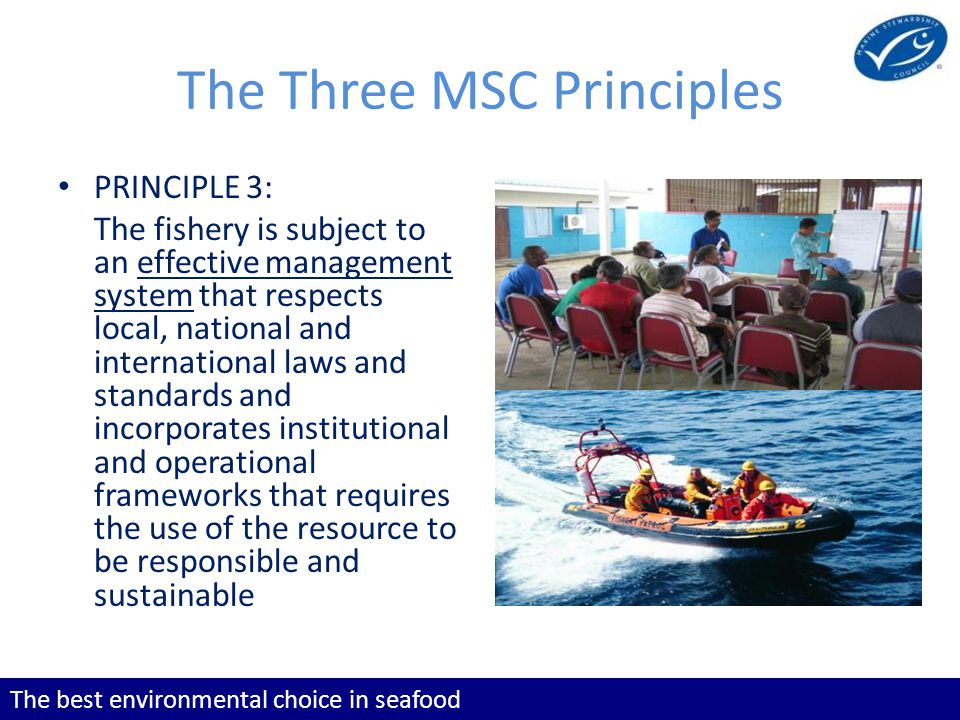 The best environmental choice in seafood The Three MSC Principles PRINCIPLE 3: The fishery is subject to an effective management system that respects local, national and international laws and standards and incorporates institutional and operational frameworks that requires the use of the resource to be responsible and sustainable