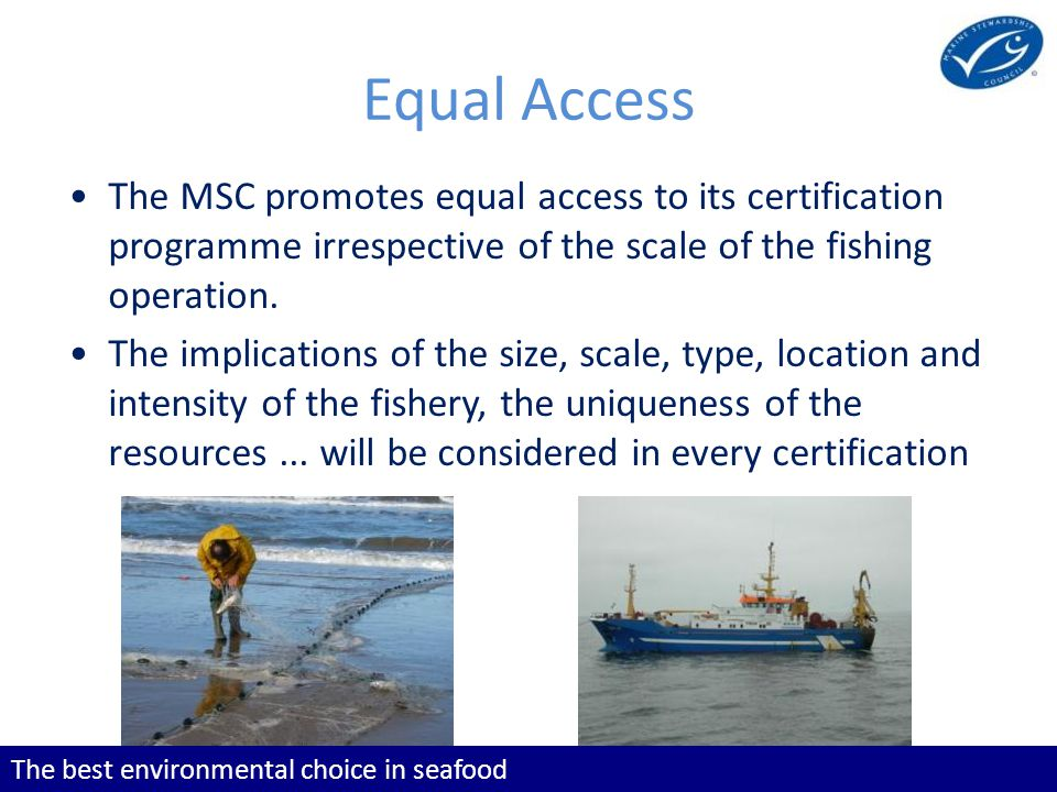 The best environmental choice in seafood The MSC promotes equal access to its certification programme irrespective of the scale of the fishing operation.