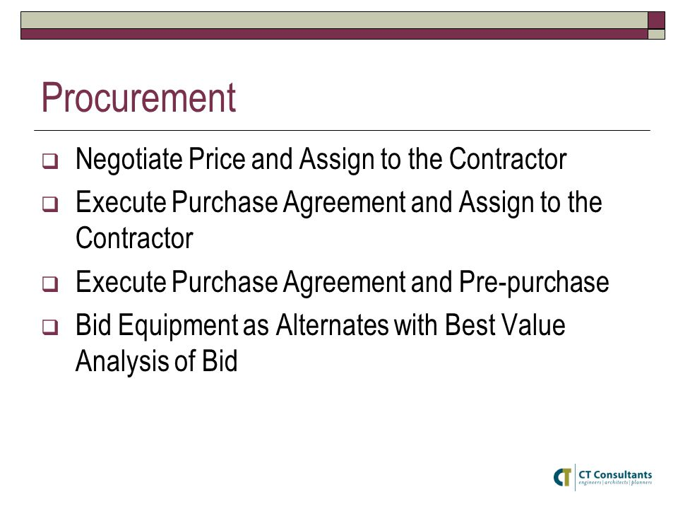 Procurement  Negotiate Price and Assign to the Contractor  Execute Purchase Agreement and Assign to the Contractor  Execute Purchase Agreement and