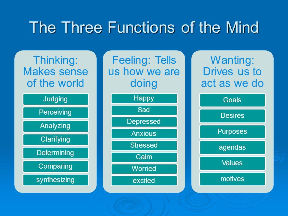 The Three Functions of the Mind Thinking: Makes sense of the world JudgingPerceivingAnalyzingClarifyingDeterminingComparingsynthesizing Feeling: Tells