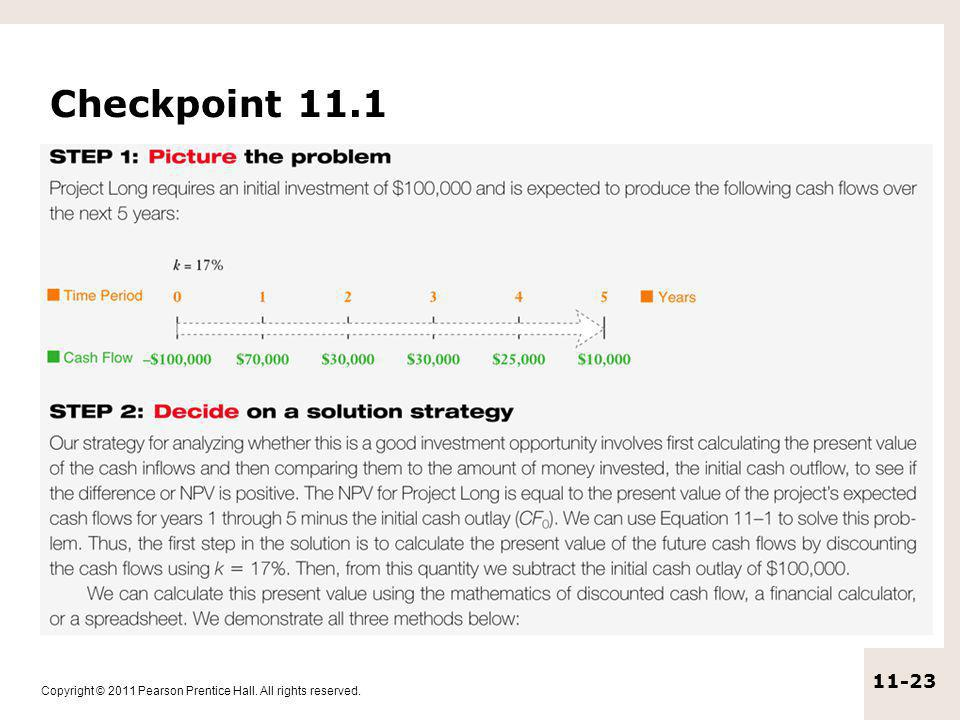 Copyright © 2011 Pearson Prentice Hall. All rights reserved. 11-23 Checkpoint 11.1