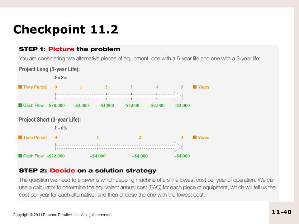 Copyright © 2011 Pearson Prentice Hall. All rights reserved. 11-40 Checkpoint 11.2