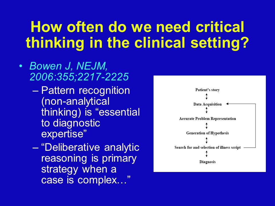 How often do we need critical thinking in the clinical setting.