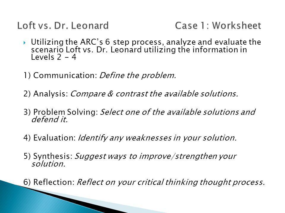  Utilizing the ARC's 6 step process, analyze and evaluate the scenario Loft vs. Dr. Leonard utilizing the information in Levels 2 - 4 1) Communicatio