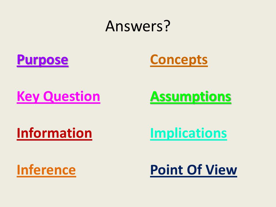 Answers? Purpose Key Question Information Inference ConceptsAssumptions Implications Point Of View