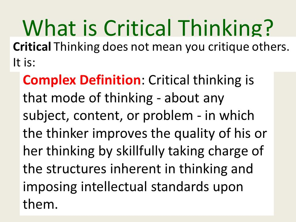 Nition of critical thinking