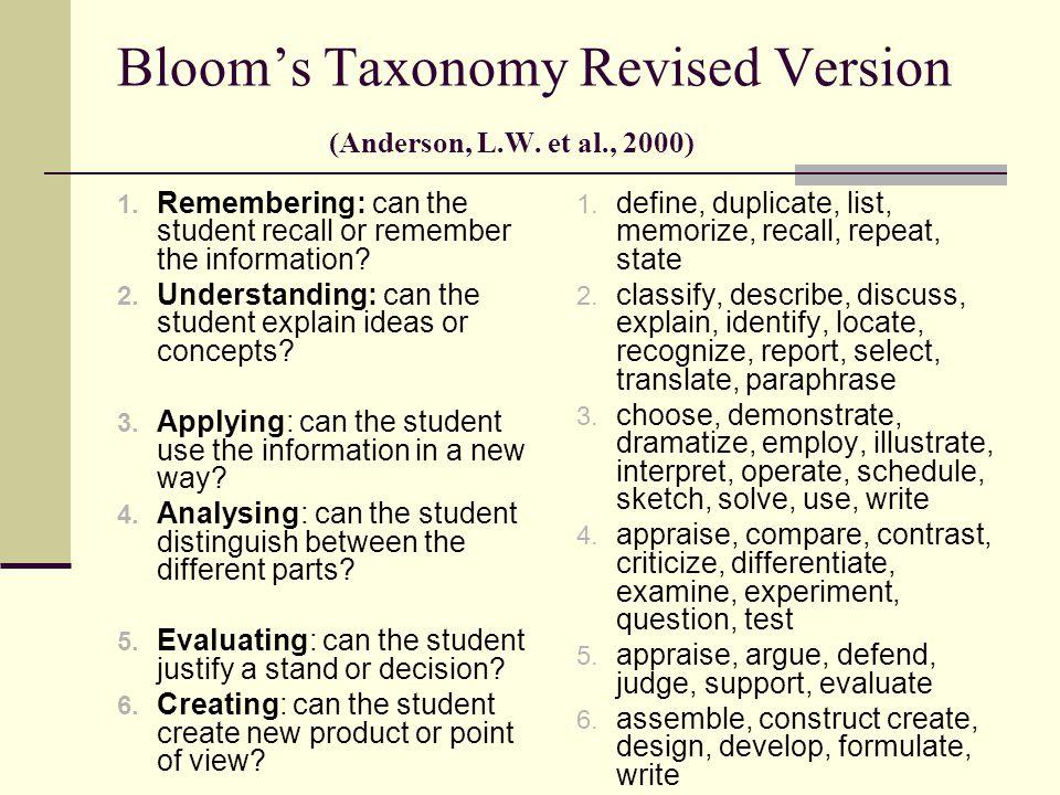Bloom's Taxonomy Revised Version (Anderson, L.W.et al., 2000) 1.