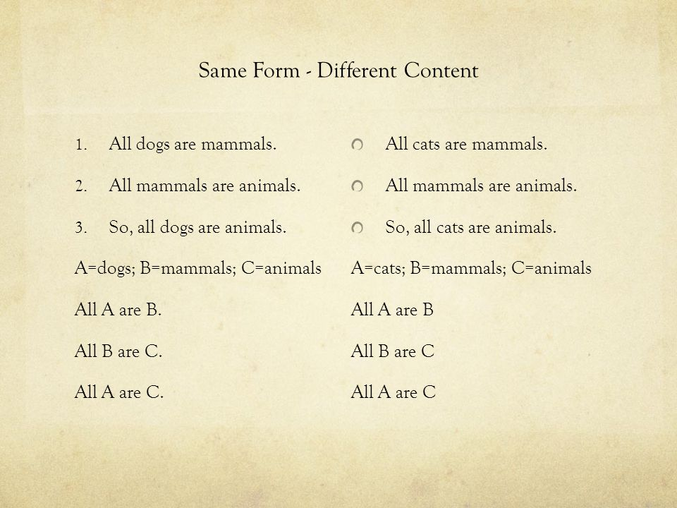 Same Form - Different Content 1. All dogs are mammals. 2. All mammals are animals. 3. So, all dogs are animals. A=dogs; B=mammals; C=animals All A are