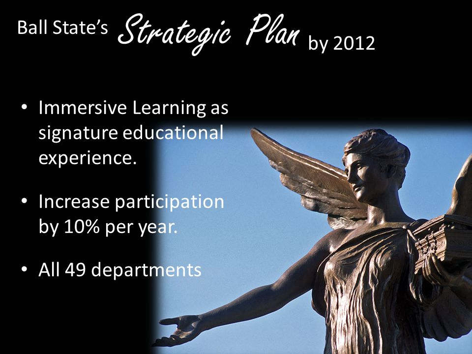 Immersive Learning as signature educational experience. Increase participation by 10% per year. All 49 departments participate. Strategic Plan Ball St