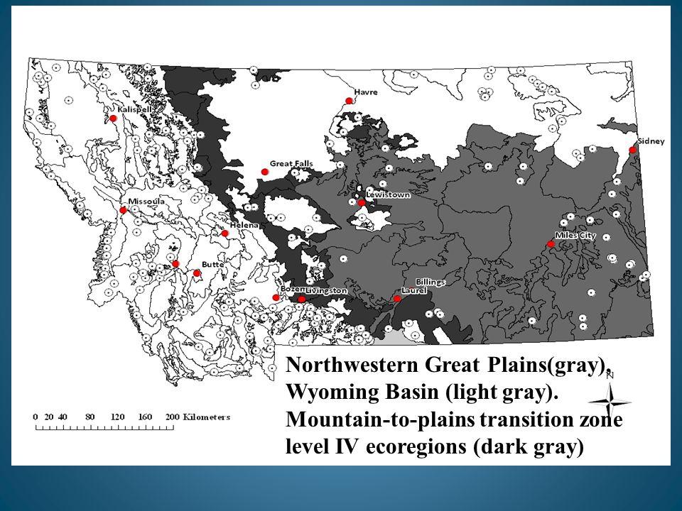Northwestern Great Plains(gray), Wyoming Basin (light gray).