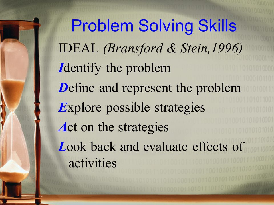 Problem Solving Skills IDEAL (Bransford & Stein,1996) Identify the problem Define and represent the problem Explore possible strategies Act on the strategies Look back and evaluate effects of activities
