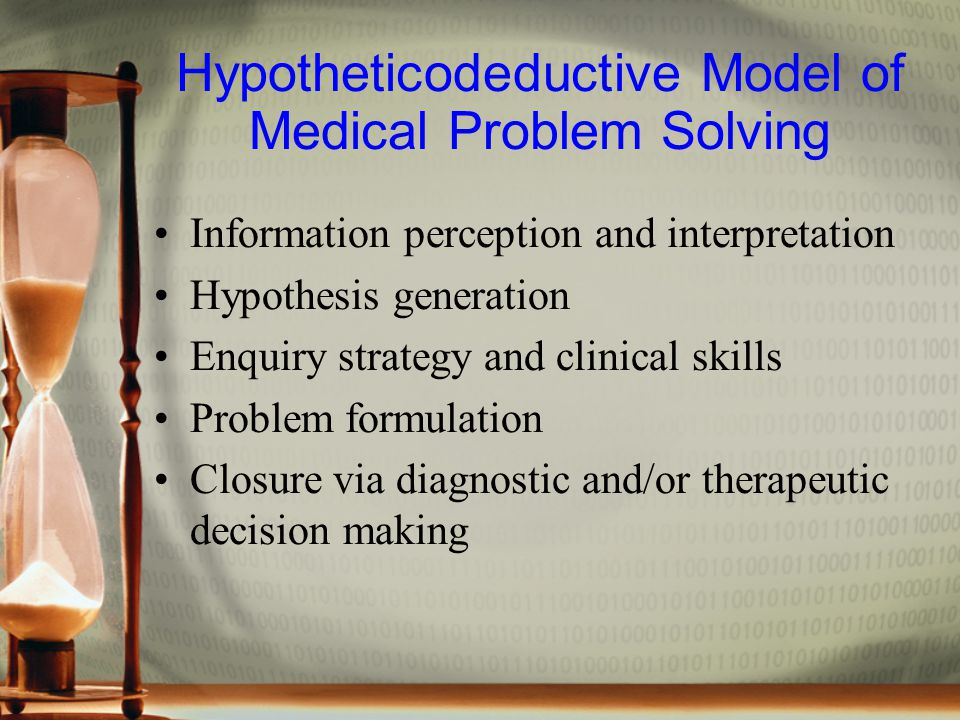 Hypotheticodeductive Model of Medical Problem Solving Information perception and interpretation Hypothesis generation Enquiry strategy and clinical skills Problem formulation Closure via diagnostic and/or therapeutic decision making