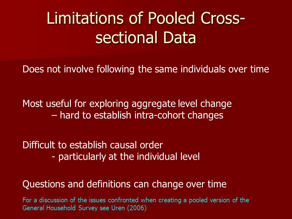 Limitations of Pooled Cross- sectional Data Does not involve following the same individuals over time Most useful for exploring aggregate level change – hard to establish intra-cohort changes Difficult to establish causal order - particularly at the individual level Questions and definitions can change over time For a discussion of the issues confronted when creating a pooled version of the General Household Survey see Uren (2006)
