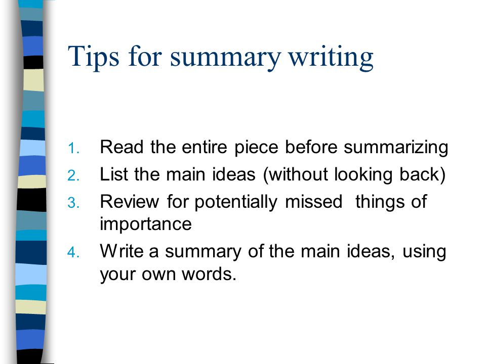 Summary exercises on reading Summary- paragraph by paragraph Individual In Pairs Group Summary Three Sentence Summary