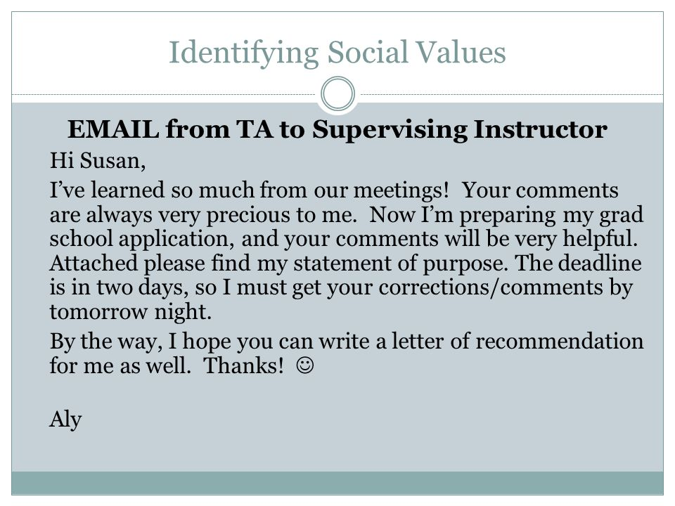 Identifying Social Values EMAIL from TA to Supervising Instructor Hi Susan, I've learned so much from our meetings! Your comments are always very prec