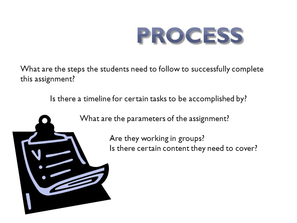 What are the steps the students need to follow to successfully complete this assignment.