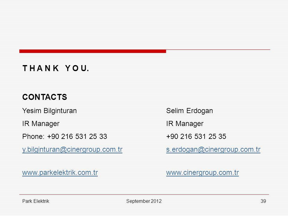 Park Elektrik39 T H A N K Y O U. CONTACTS Yesim BilginturanSelim ErdoganIR Manager Phone: +90 216 531 25 33+90 216 531 25 35 y.bilginturan@cinergroup.
