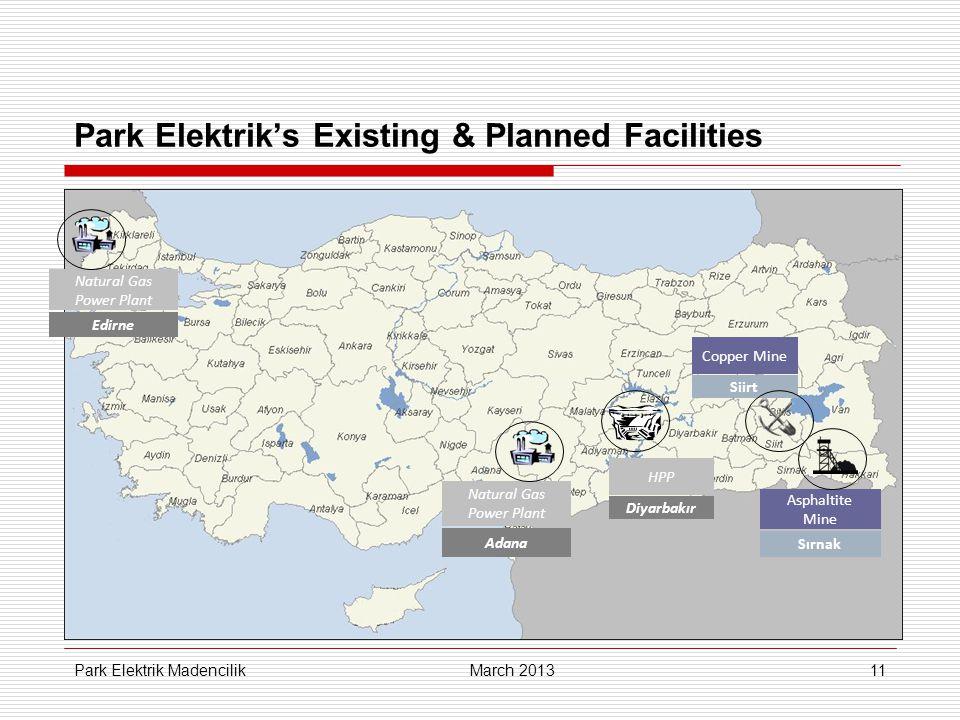 11 Park Elektrik's Existing & Planned Facilities Asphaltite Mine Sırnak Natural Gas Power Plant Adana Copper Mine Siirt HPP Diyarbakır Natural Gas Power Plant Edirne March 2013 Park Elektrik Madencilik