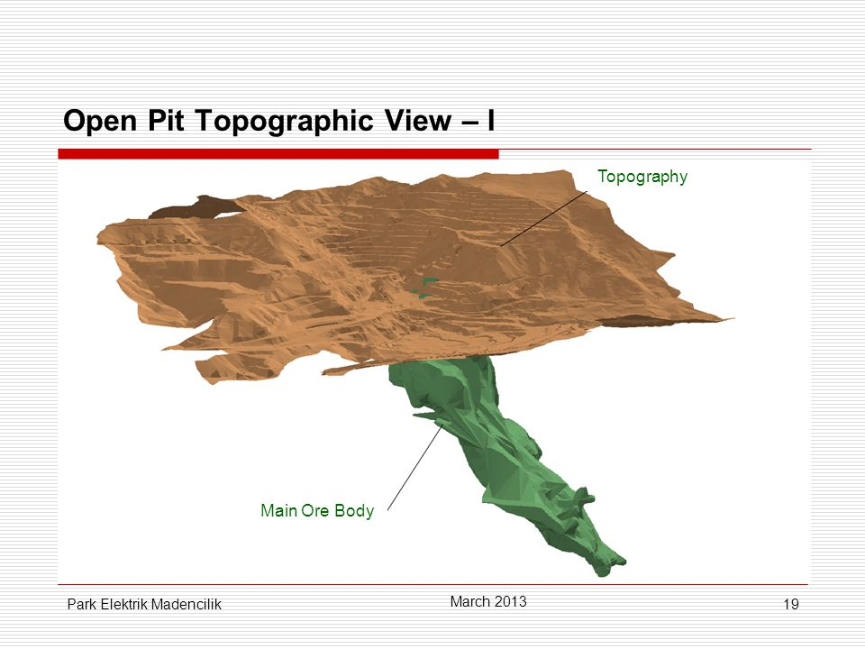 19 March 2013 Park Elektrik Madencilik Main Ore Body Topography Open Pit Topographic View – I