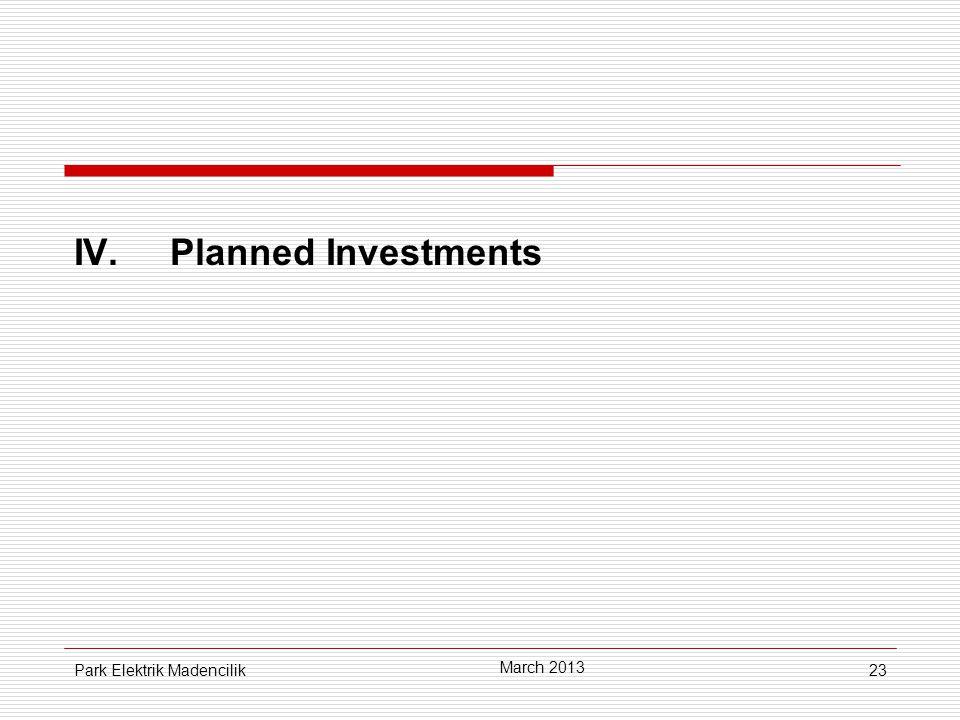 23 IV.Planned Investments March 2013 Park Elektrik Madencilik