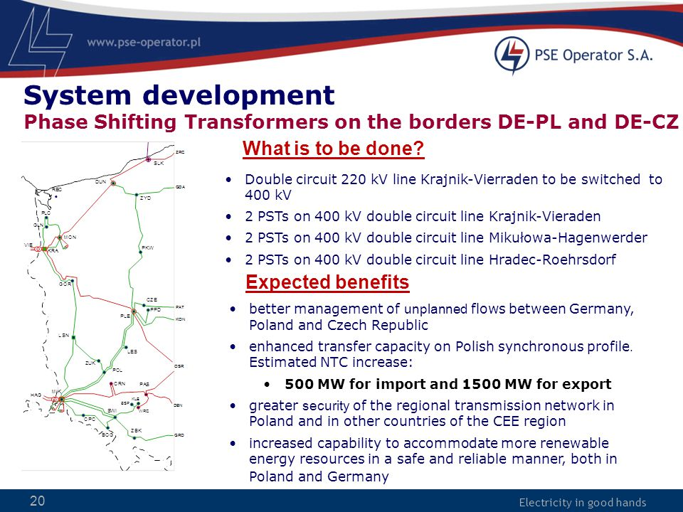 Electricity in good hands 20 better management of unplanned flows between Germany, Poland and Czech Republic enhanced transfer capacity on Polish sync