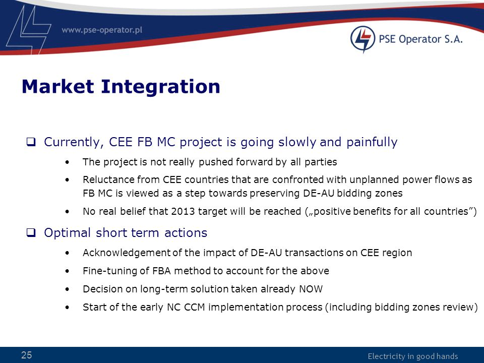 Electricity in good hands Market Integration  Currently, CEE FB MC project is going slowly and painfully The project is not really pushed forward by