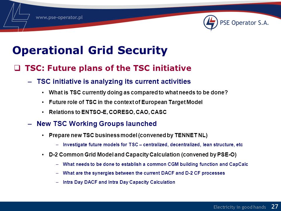 Electricity in good hands  TSC: Future plans of the TSC initiative –TSC initiative is analyzing its current activities What is TSC currently doing as compared to what needs to be done.
