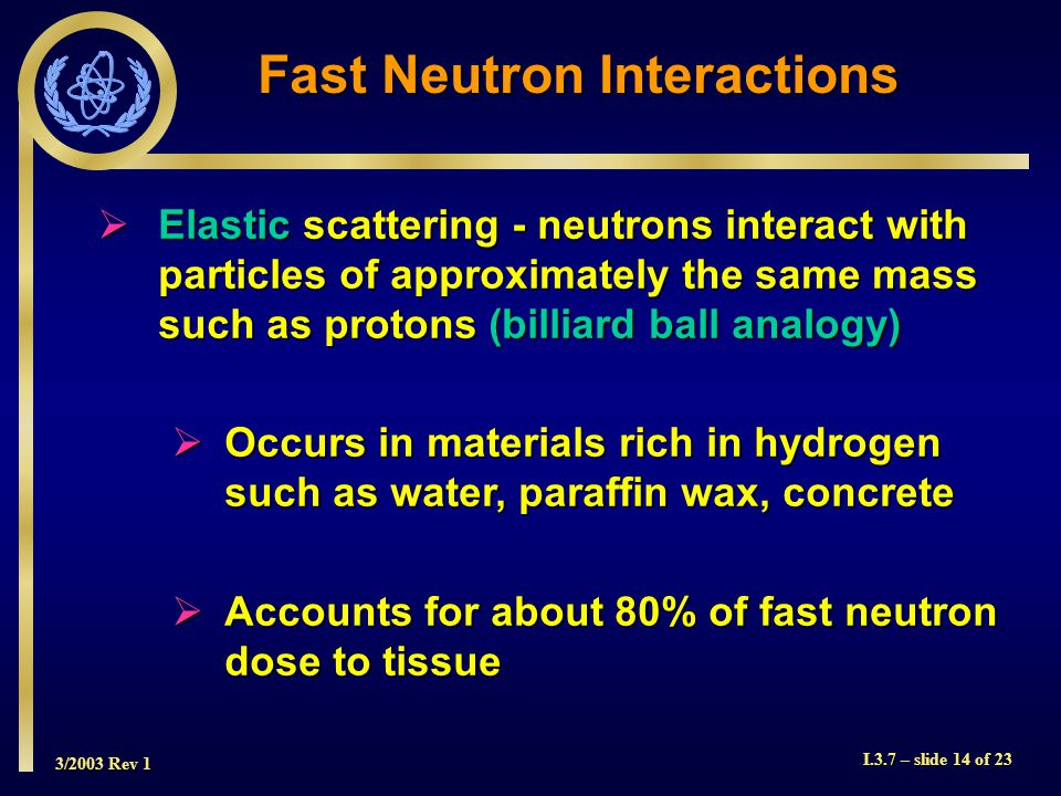 3/2003 Rev 1 I.3.7 – slide 14 of 23 Fast Neutron Interactions  Elastic scattering - neutrons interact with particles of approximately the same mass such as protons (billiard ball analogy)  Occurs in materials rich in hydrogen such as water, paraffin wax, concrete  Accounts for about 80% of fast neutron dose to tissue